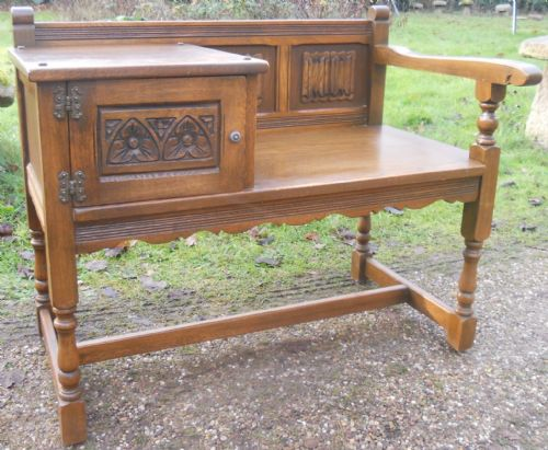 Old Charm Oak Hall Bench Seat